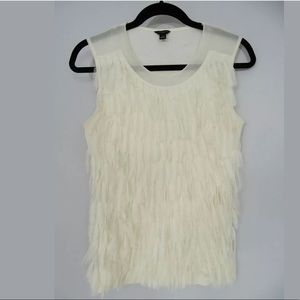 Size Small▪️ANN TAYLOR CREME/IVORY FRINGE TOP